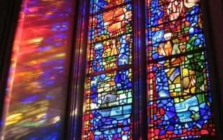 beautiful stained glass window in church