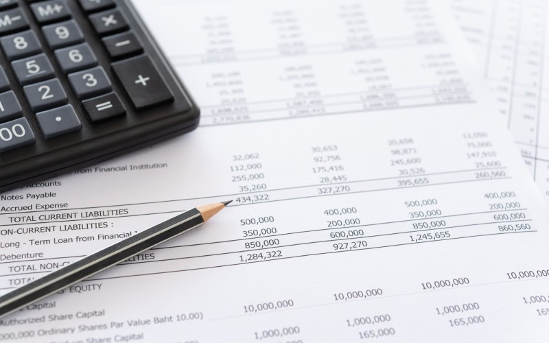Accounting spread sheets and calculator