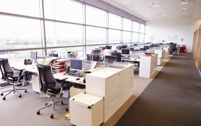 Large open plan office interior without workers
