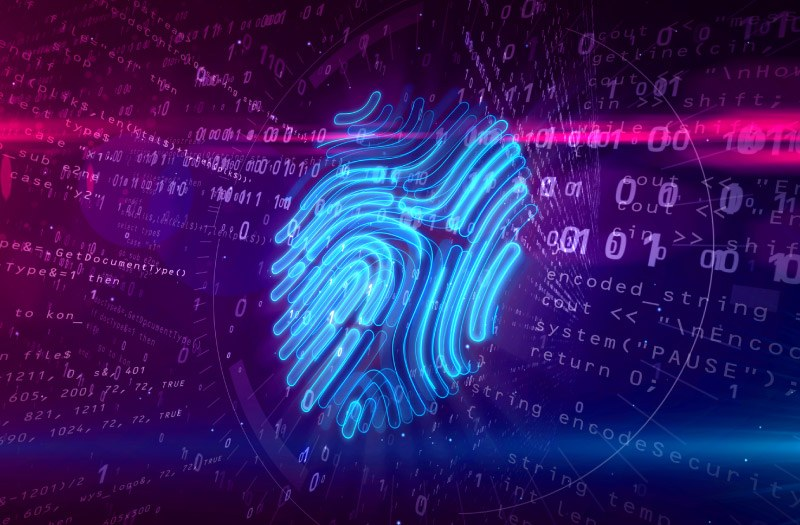 Cyber protection by fingerprint on digital background