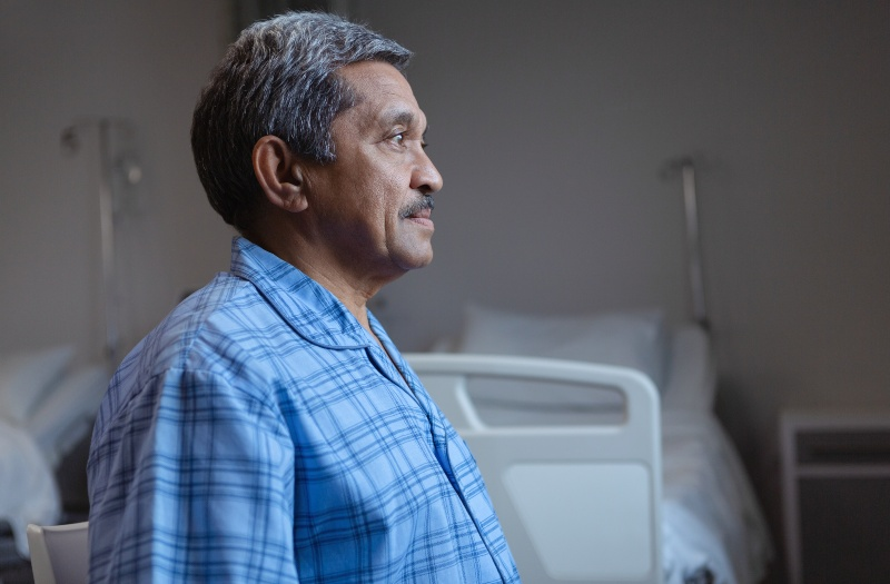 male patient in hospital room
